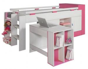 Dětský pokoj KORA - postel s psacím stolem a úložným prostorem KM16